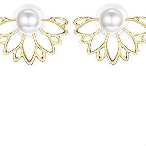 Pearl style gold lotus flower stud earrings
